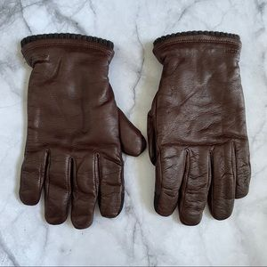 Hestra Brown Touchscreen Lined Leather Gloves